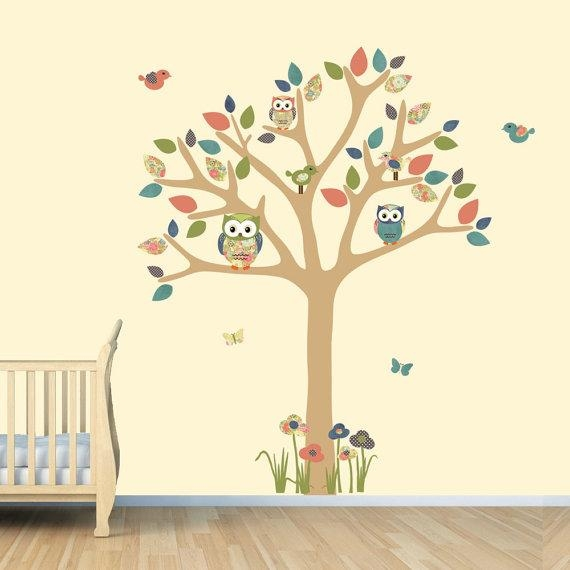 Nursery Wall Decal Owl Tree Decal Owl Art Owl Tree Wall In Owl Wall Art Stickers (View 17 of 20)