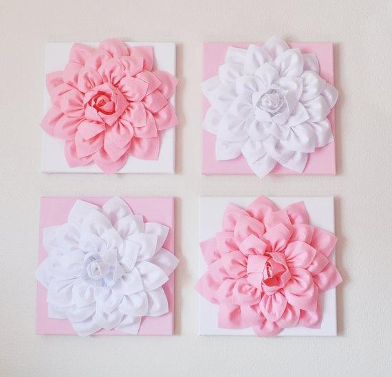 Nursery Wall Decor Set Of Four Light Pink And White Flower Regarding Pink Flower Wall Art (View 5 of 20)
