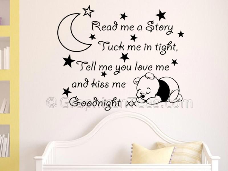 Nursery Wall Sticker, Winnie The Pooh Bedroom Wall Quote Decor Regarding Winnie The Pooh Nursery Quotes Wall Art (Image 12 of 20)