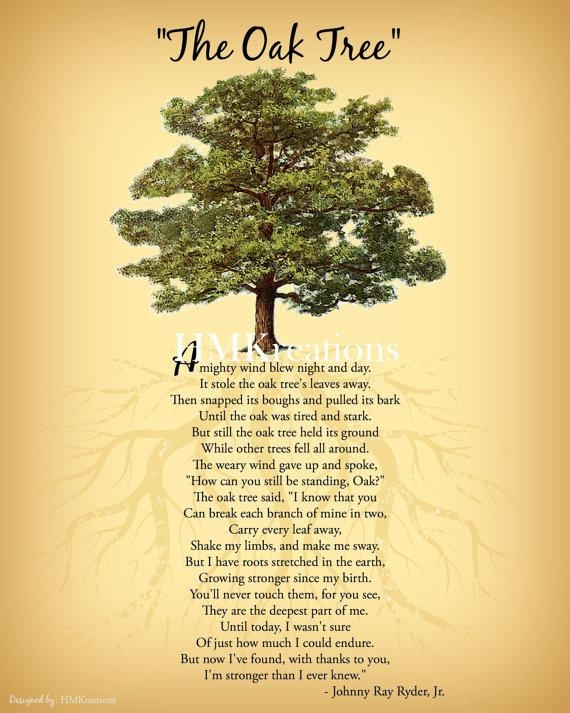 Oak Tree Poem Encouraging Tree Poem Quote Nature Wall Art Throughout Oak Tree Wall Art (View 10 of 20)