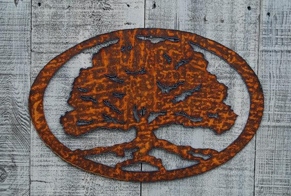 Oak Tree Rusty Metal Wall Art Inside Oak Tree Metal Wall Art (Image 15 of 20)
