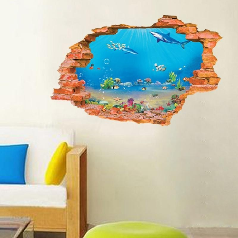 Ocean Wall Decals | Roselawnlutheran Pertaining To Fish Decals For Bathroom (Image 18 of 20)