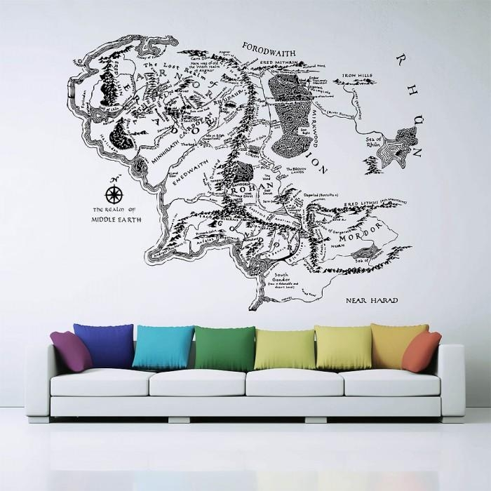 Of Middle Earth Lord Of The Rings Vinyl Wall Art Decal In Map Wall Art (Image 15 of 20)