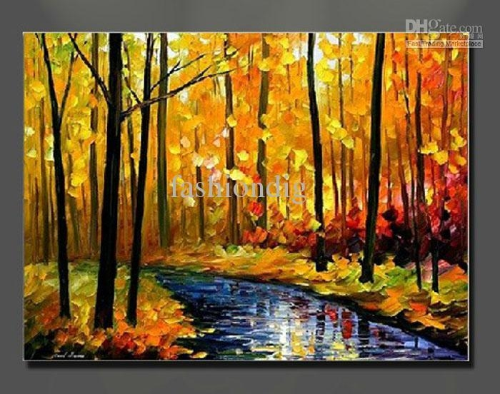 Oil Painting Canvas Autumn Landscape Scenery River Yellow Home With Regard To Canvas Landscape Wall Art (View 2 of 20)