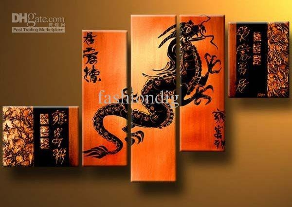 Oil Painting Dragon Feng Shui Decoration Modern High Quality Hand Throughout Feng Shui Wall Art (View 17 of 20)