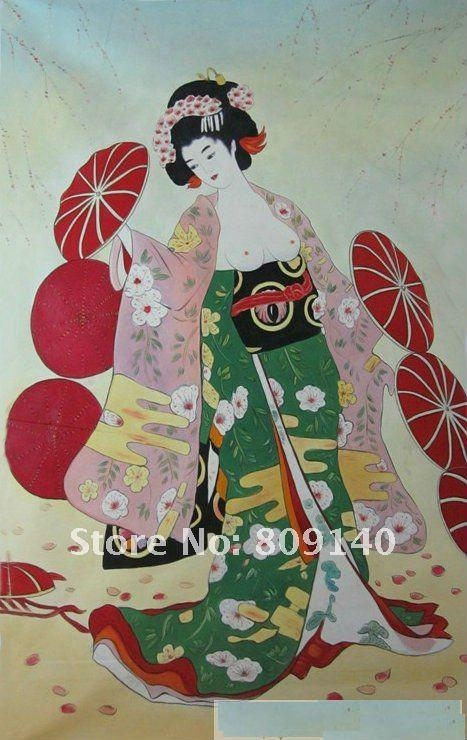 Oil Painting Lady Geisha Japanese Asian Art Decoration Portrait Intended For Geisha Canvas Wall Art (Image 14 of 20)