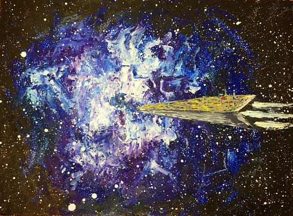 Oil Painting Oil Wall Art Space Gifts Space Decor Rocket Art For Outer Space Wall Art (View 17 of 20)