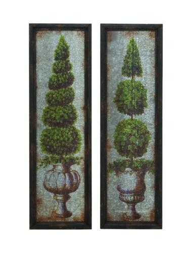 Old Fashioned Look Vintage Style Topiary Wall Art Plaque Garden With Regard To Topiary Wall Art (View 2 of 20)