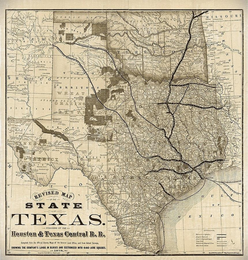Old Map Of Texas 1876 Vintage Historical Wall Map Antique With Regard To Antique Map Wall Art (Image 16 of 20)