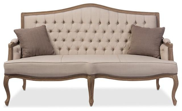 Oliver Weathered Oak Wood Fabric Button Tufted Upholstered 3 Throughout Beige Sofas (Image 18 of 20)