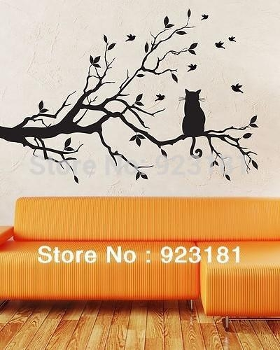 Ome Decor Wall Sticker Birds And Cat On Tree Branches Wall Art In Tree Branch Wall Art (Image 14 of 20)