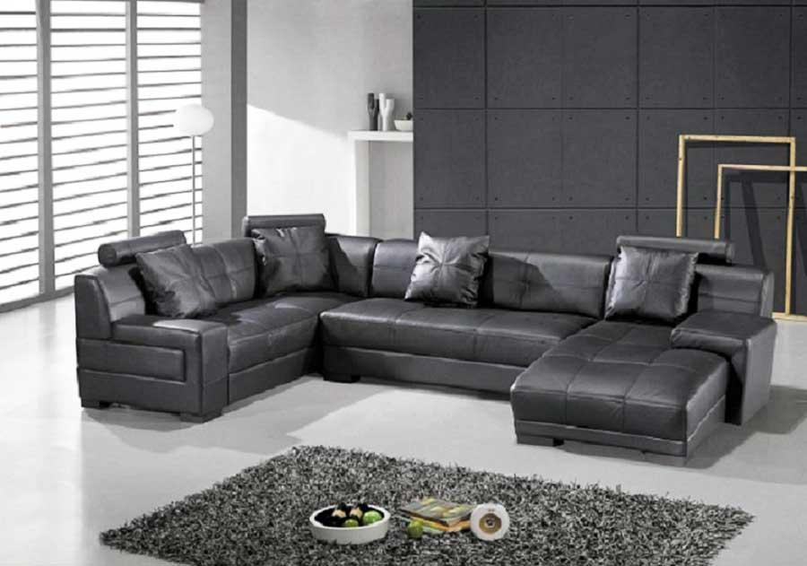 Omega Modern Black Leather Sectional Sofa | Leather Sectionals Intended For Black Modern Sectional Sofas (Image 16 of 20)