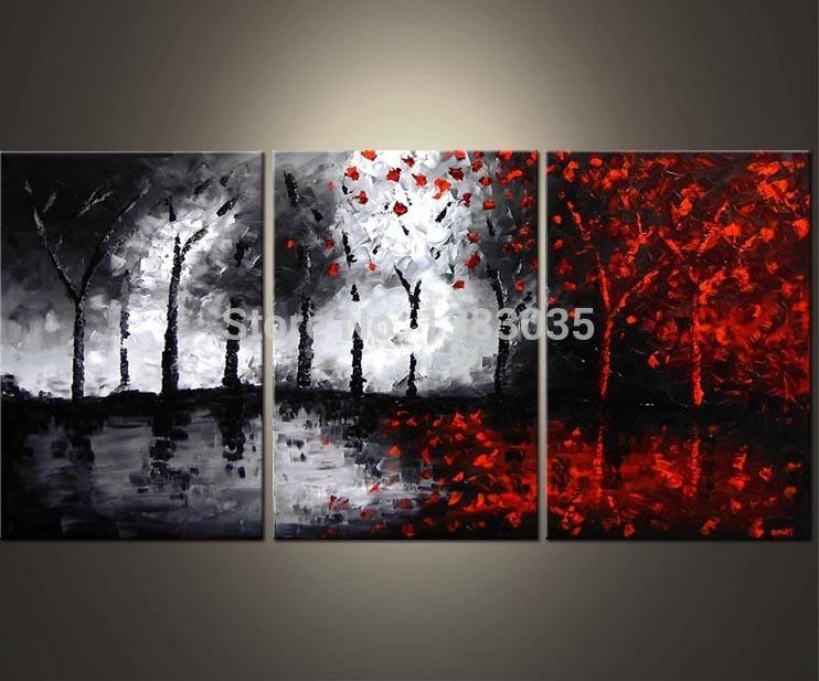 Online Buy Wholesale 3 Piece Black Red White Abstract Wall Art Pertaining To Black And White Wall Art With Red (View 16 of 20)
