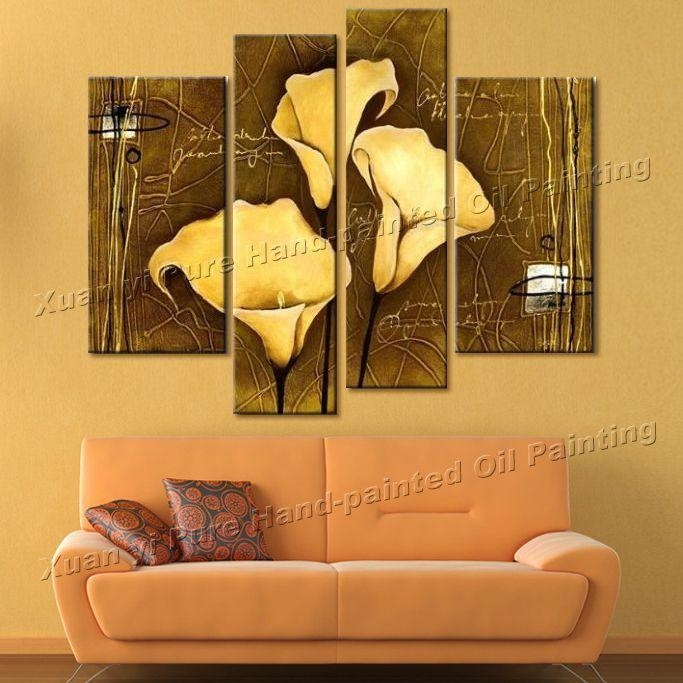 Online Cheap 100% Hand Made Big Canvas Wall Art Lines Weak Yellow In Big Canvas Wall Art (View 15 of 20)