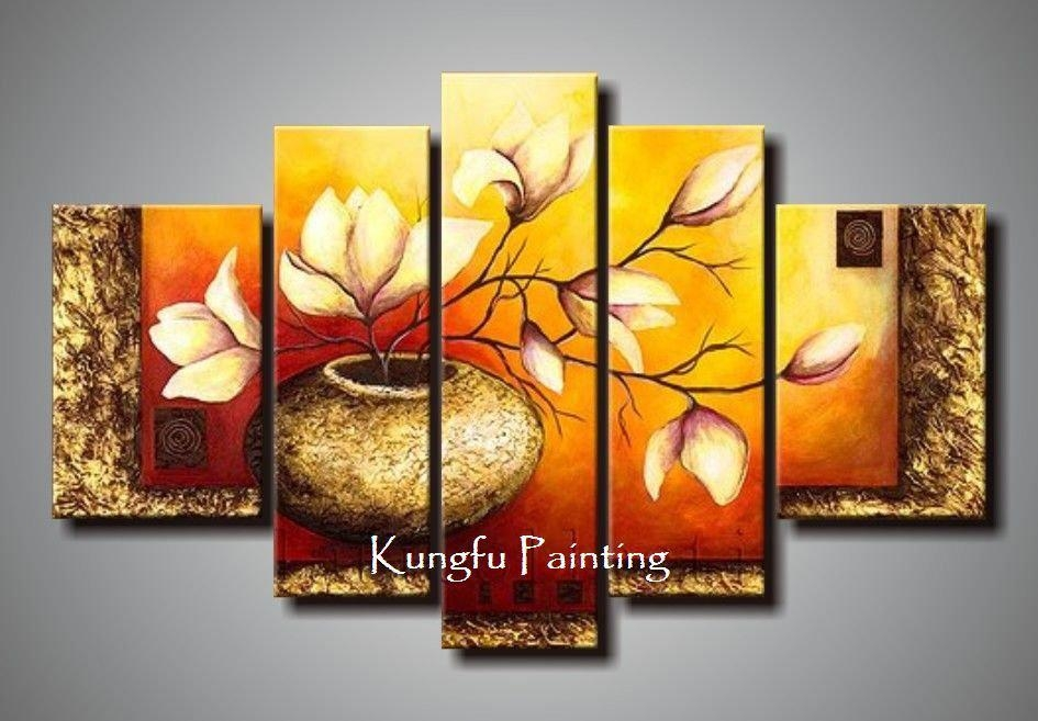 Online Cheap 100% Hand Painted Unframed Abstract 5 Panel Canvas Within Cheap Wall Art Sets (Image 7 of 20)