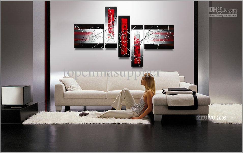 Online Cheap Art Modern Abstract Oil Painting Handpainted Cool With Multiple Piece Canvas Wall Art (Image 13 of 20)