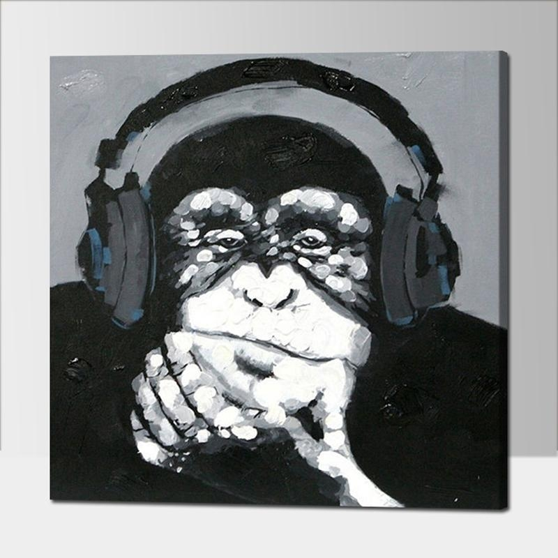 Online Get Cheap Black And White Monkey Canvas  Aliexpress Pertaining To Cheap Black And White Wall Art (Image 9 of 20)