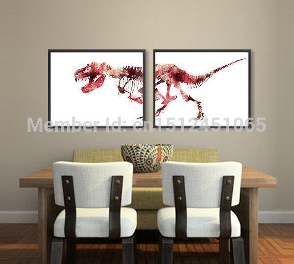Online Get Cheap Dinosaur Paintings Aliexpress | Alibaba Group Inside Dinosaur Canvas Wall Art (View 13 of 20)