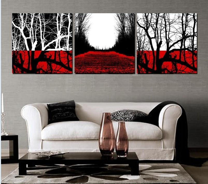 Online Get Cheap Painted Wall Art With Black White Red Tree Inside Black And White Wall Art With Red (Image 17 of 20)