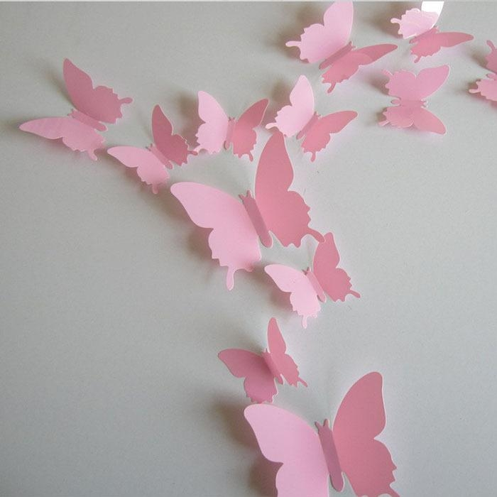 Online Get Cheap Pink Butterflies  Aliexpress | Alibaba Group Intended For Pink Butterfly Wall Art (Image 16 of 20)
