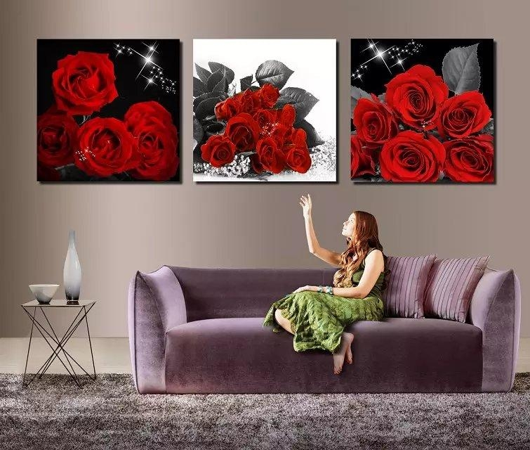 Online Get Cheap Red Rose Paint  Aliexpress | Alibaba Group Regarding Red Rose Wall Art (Image 10 of 20)