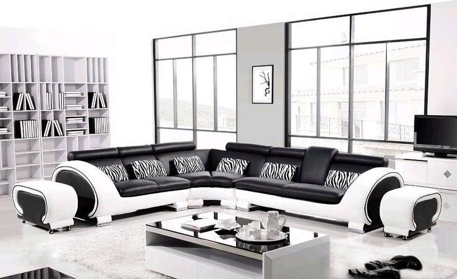 Online Get Cheap White Leather Corner Sofa Aliexpress Intended For Black And White Leather Sofas (Image 17 of 20)