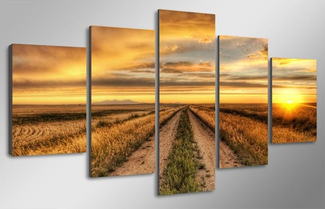 Online Shop 5 Pcs Ready To Hang Hd Printed Country Road At Sunset Within Country Canvas Wall Art (Image 13 of 20)
