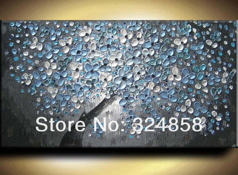 Online Shop Abstract Modern Blue Slate Silver Gray Floral Heavy Throughout Blue And Silver Wall Art (Image 16 of 20)