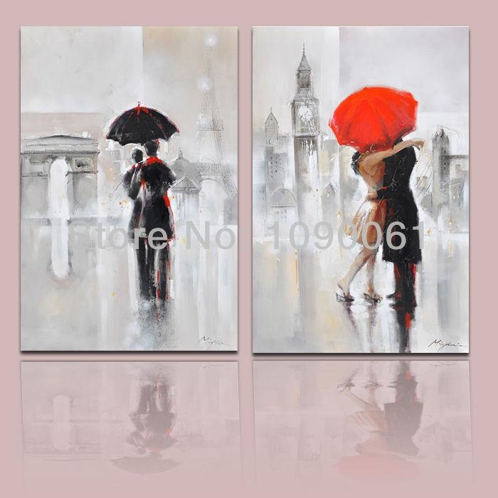 Online Shop Hand Painted Lovers In The Rain In London And Paris Throughout Street Scene Wall Art (View 4 of 20)