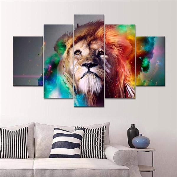 Online Shop Home Decoration Printed Oil Painting Canvas Prints No With Lion Wall Art (Image 15 of 20)