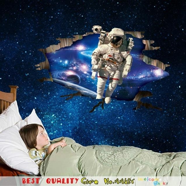 Online Shop Hot Baby Dream Outer Space Wall Stickers Astronaut Regarding Outer Space Wall Art (Image 13 of 20)