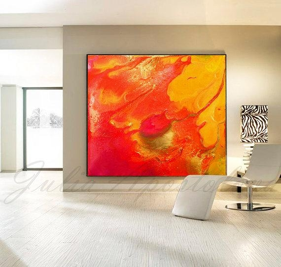 Orange Abstract Print Painting Red Yellow Orange Painting For Red And Yellow Wall Art (Image 15 of 20)