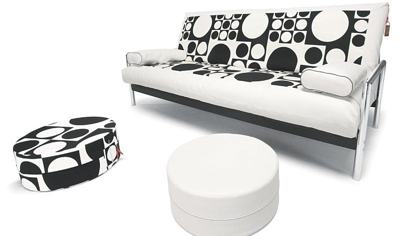 Orb Sofa Bed With Kawasaki Cover In White Leather Textile 302 And With Regard To Sofas With Black Cover (Image 14 of 20)