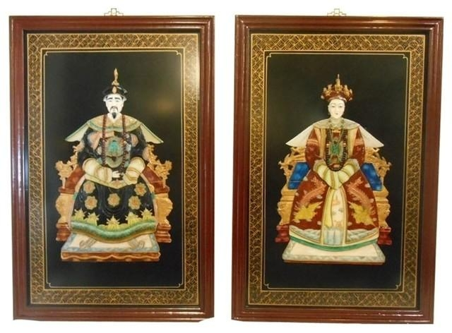 Oriental Ancestor Wall Panels, 2 Piece Set – Asian – Wall Accents With Regard To Asian Wall Art Panels (View 11 of 20)