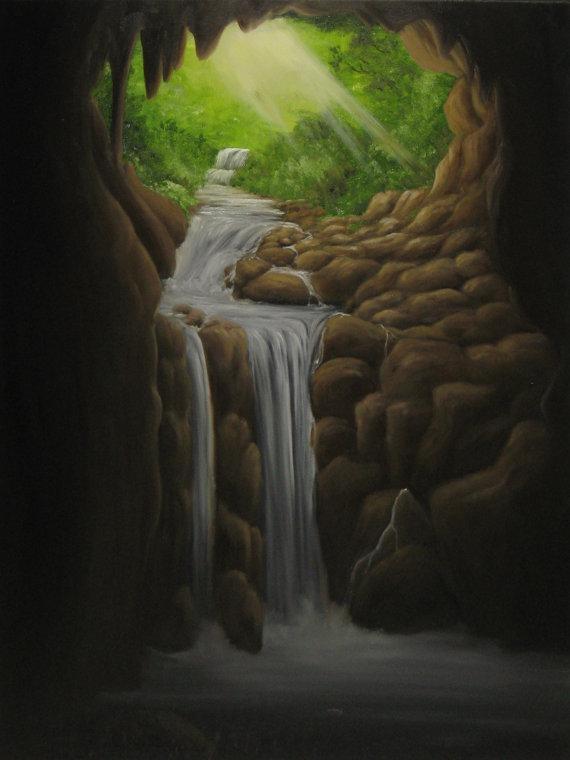 Original 18X24 Oil Painting Hidden Cave Waterfall Wall Regarding Waterfall Wall Art (Image 14 of 20)