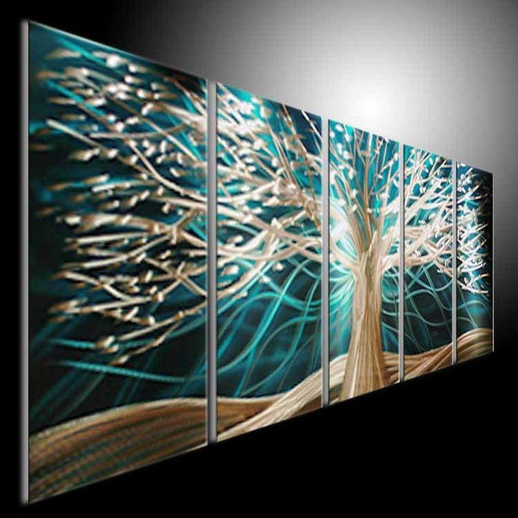 Original Abstract Metal Wall Art Modern 3D Paintingtomouk Inside Large Abstract Metal Wall Art (Image 15 of 20)