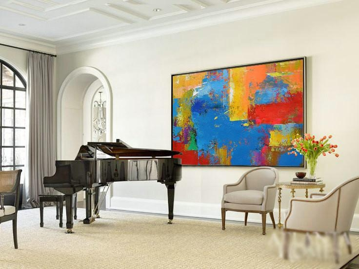 Original Horizontal Wall Art, Abstract Art Canvas Painting, Large In Large Horizontal Wall Art (View 14 of 20)