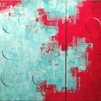 Original Large Abstract Braille Painting – 20 X 64 Inches By Regarding Red And Turquoise Wall Art (Image 14 of 20)