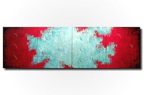 Original Large Abstract Braille Painting – 20 X 64 Inches By With Red And Turquoise Wall Art (Image 15 of 20)