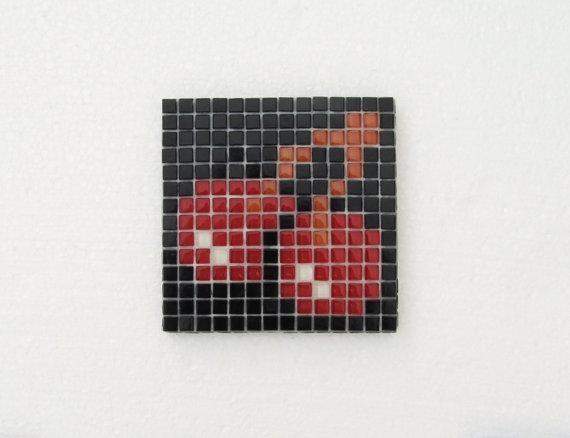 Original Pacman Mosaic Wall Art Pacman Red Cherries Pacman In Pixel Mosaic Wall Art (Image 12 of 20)