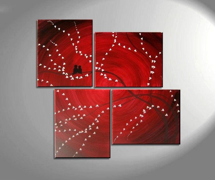 Original Painting Love Bird Wall Art Burgundy Maroon Red Regarding Burgundy Wall Art (Image 19 of 20)