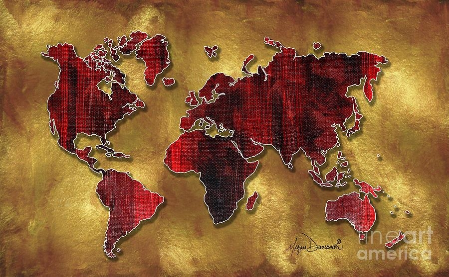 Original World Map Design Gold And Vibrant Red Unique Artmegan Within Megan Duncanson Metal Wall Art (Image 17 of 20)