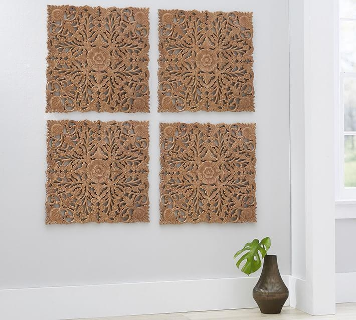 Ornate Carved Wood Panel Wall Art – Set Of 4 | Pottery Barn Inside Wood Panel Wall Art (Image 8 of 20)