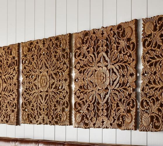 Ornate Carved Wood Panel Wall Art – Set Of 4 | Pottery Barn Inside Wood Wall Art Panels (Image 9 of 20)
