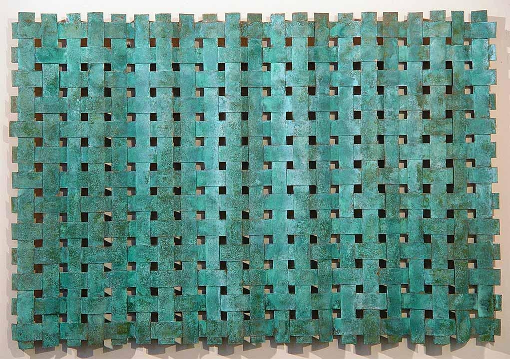 Outdoor Metal Wall Art Weaving > Outdoor Copper Wall Art > Woven Metal In Copper Outdoor Wall Art (Image 14 of 20)