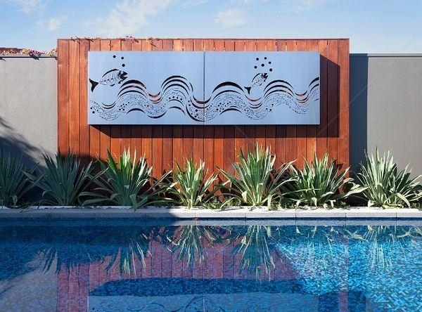 Outdoor Ocean Metal Wall Art – Fish Wave Set Of 2 Panels From Inside Stainless Steel Outdoor Wall Art (View 3 of 20)