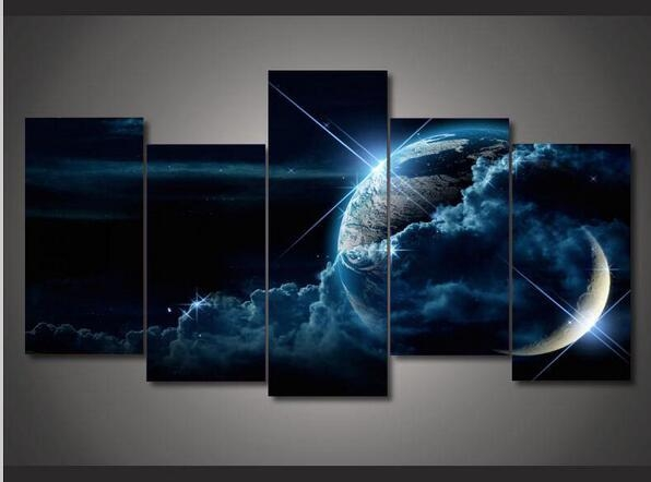 Outer Space Landscape Canvas Wall Art Home Decoration 5 Pcs Oil With Regard To Outer Space Wall Art (Image 17 of 20)