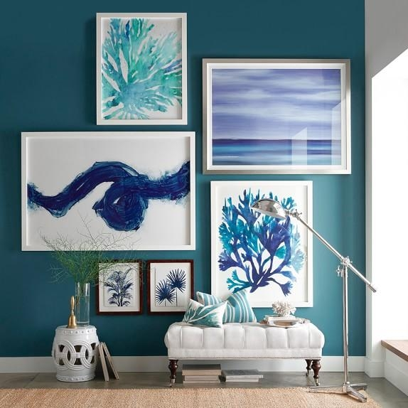 Oversized Indigo Coral Prints | Williams Sonoma Throughout Oversized Framed Art (View 13 of 20)