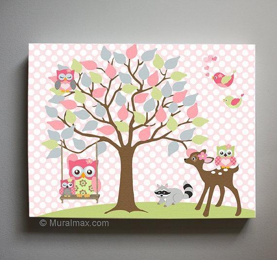 Owl Decor Girls Wall Art Owl Canvas Art Baby Nursery Owl With Girls Canvas Wall Art (View 12 of 20)