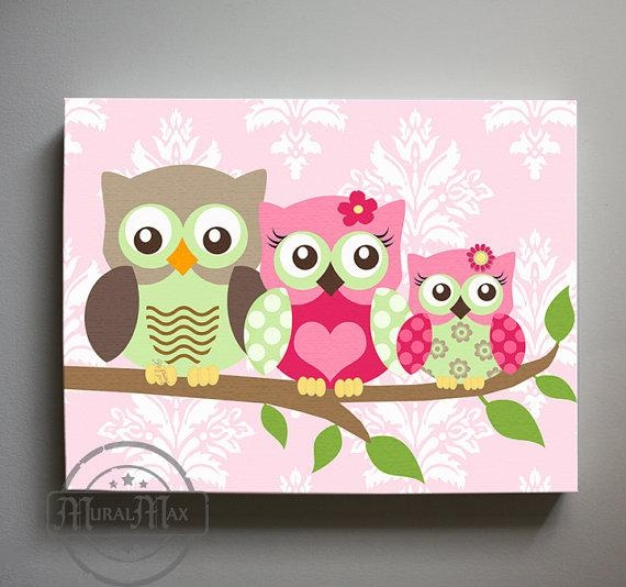 Owl Decor Girls Wall Art Owl Canvas Art Owl Nursery Owl For Nursery Canvas Art (Image 16 of 20)